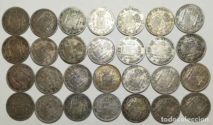 Monedas de España: 28 MONEDAS DE 50 CÉNTIMOS DE PLATA. ALFONSO XIII REY DE ESPAÑA 1904 - Foto 2 - 160239258