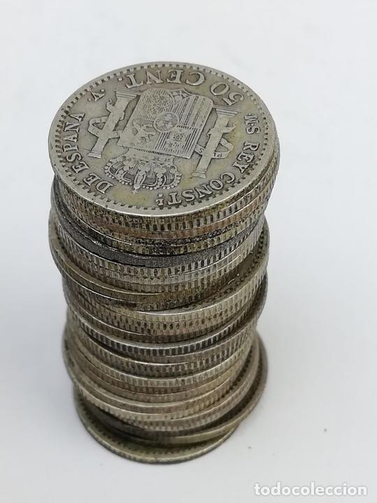 Monedas de España: 28 MONEDAS DE 50 CÉNTIMOS DE PLATA. ALFONSO XIII REY DE ESPAÑA 1904 - Foto 4 - 160239258