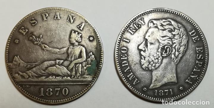 2 MONEDAS DE 5 PESETAS DE PLATA. ESPAÑA AÑOS 1870. 1871 (Numismática - España Modernas y Contemporáneas - De Isabel II (1.834) a Alfonso XIII (1.931))