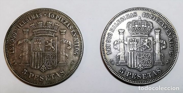 Monedas de España: 2 MONEDAS DE 5 PESETAS DE PLATA. ESPAÑA AÑOS 1870. 1871 - Foto 2 - 160244018
