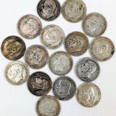 Monedas de España: 16 MONEDAS DE 50 CÉNTIMOS DE PLATA. ALFONSO XII REY DE ESPAÑA 1880.1881.1885. Lote 160248910