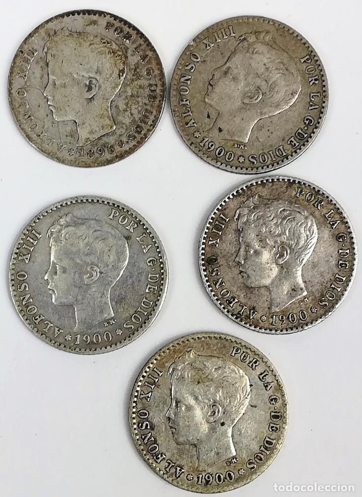 5 MONEDAS DE 50 CÉNTIMOS DE PLATA. ALFONSO XIII REY DE ESPAÑA 1896. 1900 (Numismática - España Modernas y Contemporáneas - De Isabel II (1.834) a Alfonso XIII (1.931))