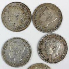 Monedas de España: 5 MONEDAS DE 50 CÉNTIMOS DE PLATA. ALFONSO XIII REY DE ESPAÑA 1896. 1900. Lote 258231750
