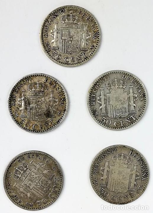 Monedas de España: 5 MONEDAS DE 50 CÉNTIMOS DE PLATA. ALFONSO XIII REY DE ESPAÑA 1896. 1900 - Foto 2 - 258231750