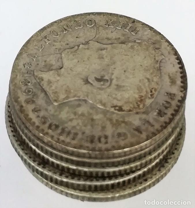 Monedas de España: 5 MONEDAS DE 50 CÉNTIMOS DE PLATA. ALFONSO XIII REY DE ESPAÑA 1896. 1900 - Foto 3 - 258231750