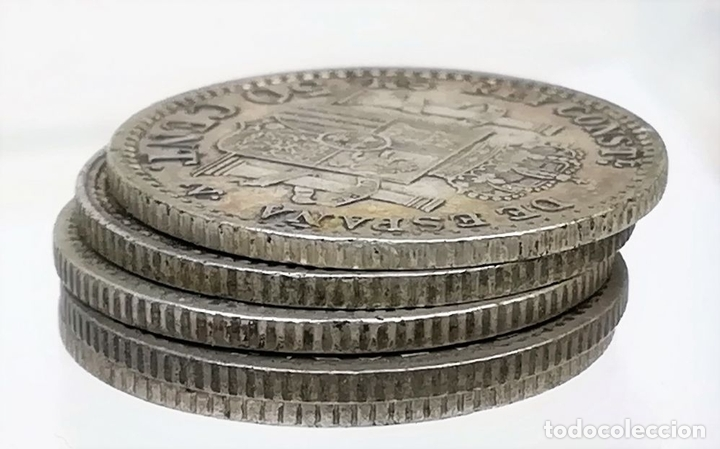 Monedas de España: 5 MONEDAS DE 50 CÉNTIMOS DE PLATA. ALFONSO XIII REY DE ESPAÑA 1896. 1900 - Foto 4 - 258231750