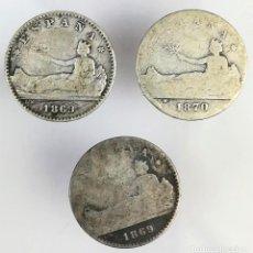 Monedas de España: 3 MONEDAS DE 50 CÉNTIMOS DE PLATA. ESPAÑA 1869. 1870. Lote 160319946
