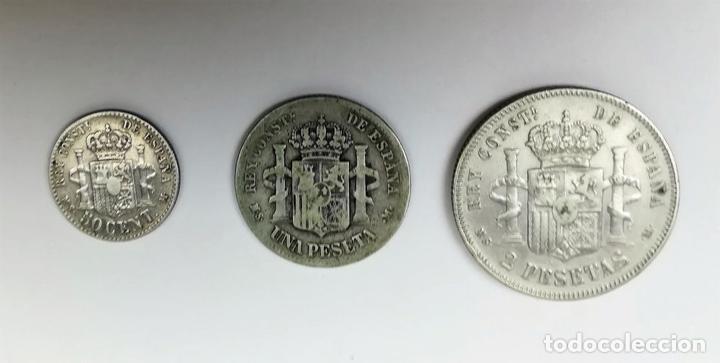 Monedas de España: 3 MONEDAS: 2 PESETAS. UNA PESETA. 50 CÉNTIMOS DE PLATA. REY ALFONSO XII. ESPAÑA - Foto 2 - 160333354
