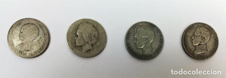 4 MONEDAS DE UNA PESETA DE PLATA. ALFONSO XIII REY DE ESPAÑA 1889.1893.1902.1903 (Numismática - España Modernas y Contemporáneas - De Isabel II (1.834) a Alfonso XIII (1.931))