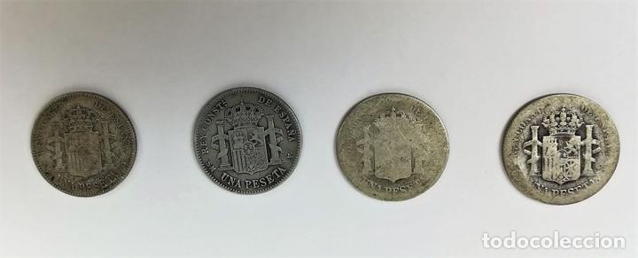 Monedas de España: 4 MONEDAS DE UNA PESETA DE PLATA. ALFONSO XIII REY DE ESPAÑA 1889.1893.1902.1903 - Foto 2 - 160349122
