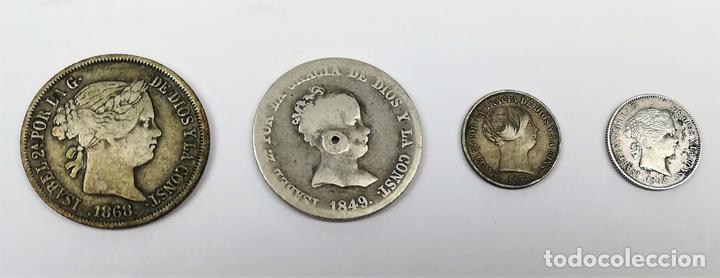 4 MONEDAS DE PLATA ISABEL II. DE ESPAÑA. VARIOS AÑOS. (Numismática - España Modernas y Contemporáneas - De Isabel II (1.834) a Alfonso XIII (1.931))