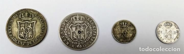 Monedas de España: 4 MONEDAS DE PLATA ISABEL II. DE ESPAÑA. VARIOS AÑOS. - Foto 2 - 160353910