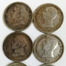 Monedas de España: 6 MONEDAS DE 50 CÉNTIMOS DE PLATA. ALFONSO XIII REY DE ESPAÑA 1910. Lote 160356618