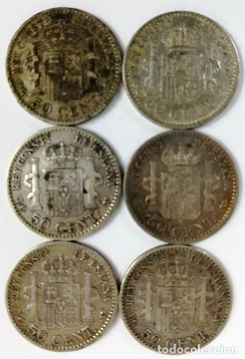 Monedas de España: 6 MONEDAS DE 50 CÉNTIMOS DE PLATA. ALFONSO XIII REY DE ESPAÑA 1910 - Foto 2 - 160356618