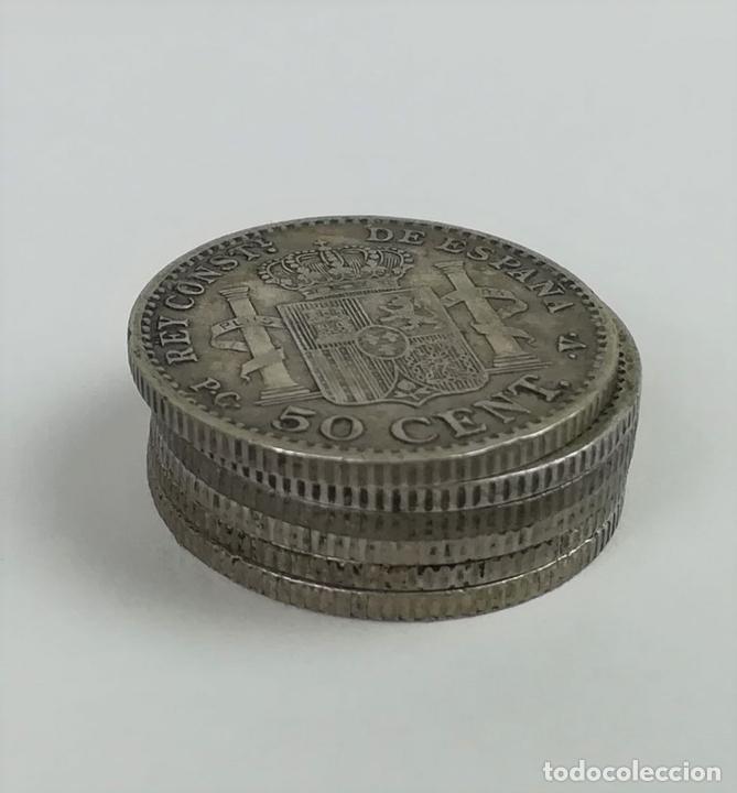 Monedas de España: 6 MONEDAS DE 50 CÉNTIMOS DE PLATA. ALFONSO XIII REY DE ESPAÑA 1910 - Foto 3 - 160356618