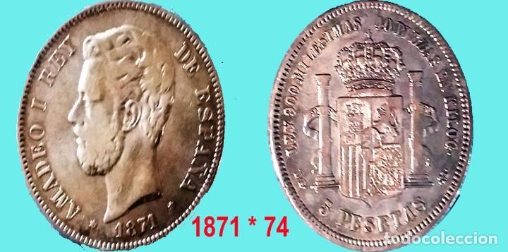 AMADEO I.- 5 PESETAS PLATA AÑO 1871*74. ESTRELLAS VISIBLES. DEM. CECA MADRID. CONSERVACION MBC+ (Numismática - España Modernas y Contemporáneas - De Isabel II (1.834) a Alfonso XIII (1.931))
