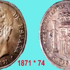 Monedas de España: AMADEO I.- 5 PESETAS PLATA AÑO 1871*74. ESTRELLAS VISIBLES. DEM. CECA MADRID. CONSERVACION MBC+. Lote 160563222
