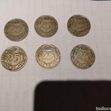 Monedas de España: LOTE 6 MONEDAS ANTIGUAS 25 CENTIMOS. Lote 161309204