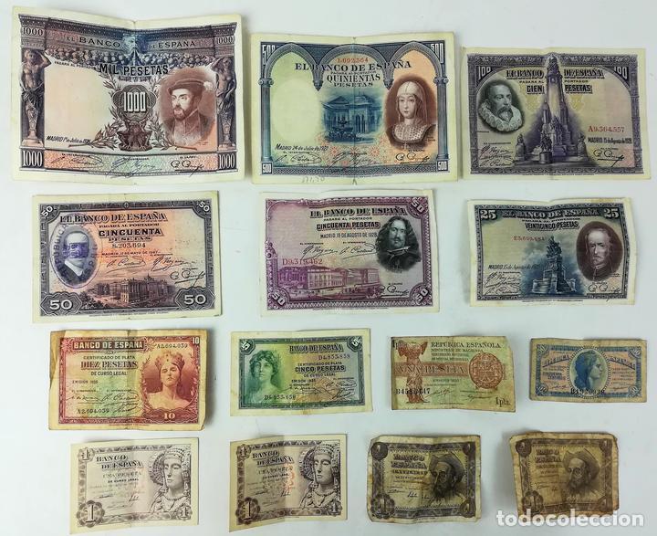 14 BILLETES DE ESPAÑA AÑOS 1925-1951 (Numismática - España Modernas y Contemporáneas - De Isabel II (1.834) a Alfonso XIII (1.931))