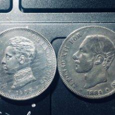 Monedas de España: LOTE 2 PESETAS ALFONSO XIII (1905) Y ALFONSO XII (1884 ) PLATA PLATA. Lote 162097810