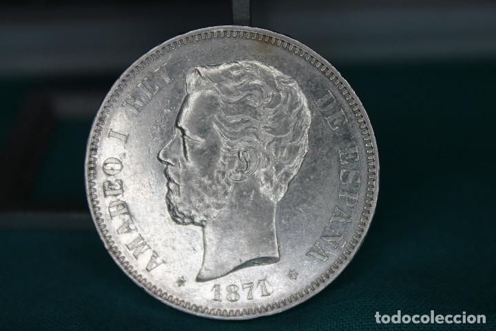 ESPAÑA AMADEO I 5 PESETAS, 1871 18 Y 71 DENTRO DE LA ESTRELLA MBC+ R 3146 (Numismática - España Modernas y Contemporáneas - De Isabel II (1.834) a Alfonso XIII (1.931))