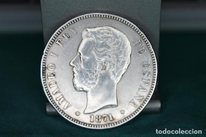 ESPAÑA AMADEO I 5 PESETAS, 1871 18 Y 71 DENTRO DE LA ESTRELLA MBC PLATA R 3147 (Numismática - España Modernas y Contemporáneas - De Isabel II (1.834) a Alfonso XIII (1.931))