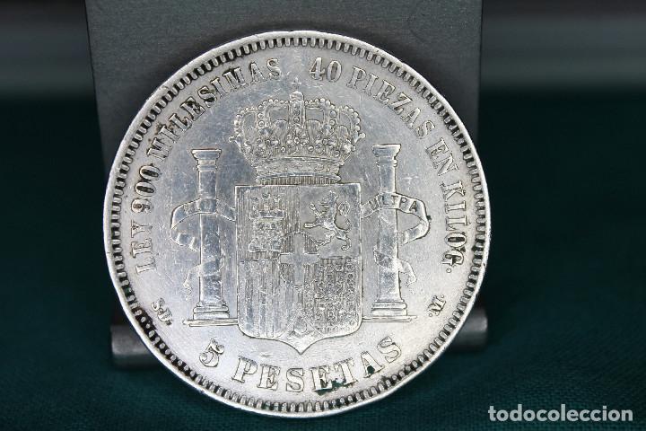 Monedas de España: España Amadeo I 5 pesetas, 1871 18 y 71 dentro de la estrella MBC plata r 3147 - Foto 3 - 162931466