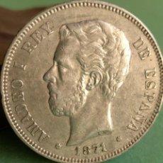 Monedas de España: MONEDA 5 PESETAS PLATA AMADEO I 1871 ESTRELLAS 18 - 71 REF. 142. Lote 163582454
