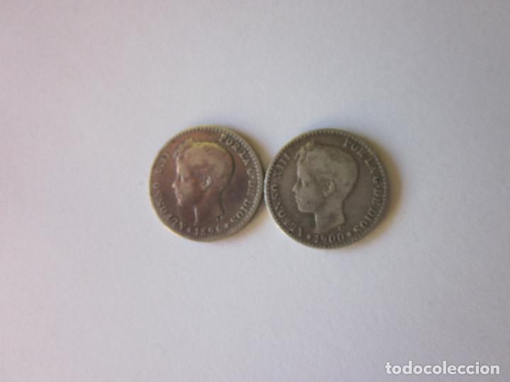2 MONEDAS DE 50 CÉNTIMOS. ALFONSO XIII. 1896 (ESCASA) Y 1900. PLATA. (Numismática - España Modernas y Contemporáneas - De Isabel II (1.834) a Alfonso XIII (1.931))