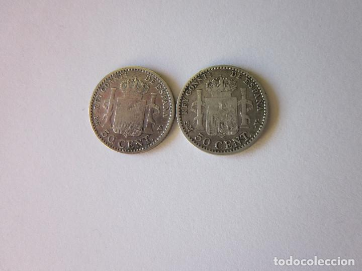 Monedas de España: 2 Monedas de 50 Céntimos. Alfonso XIII. 1896 (escasa) y 1900. Plata. - Foto 2 - 163813154
