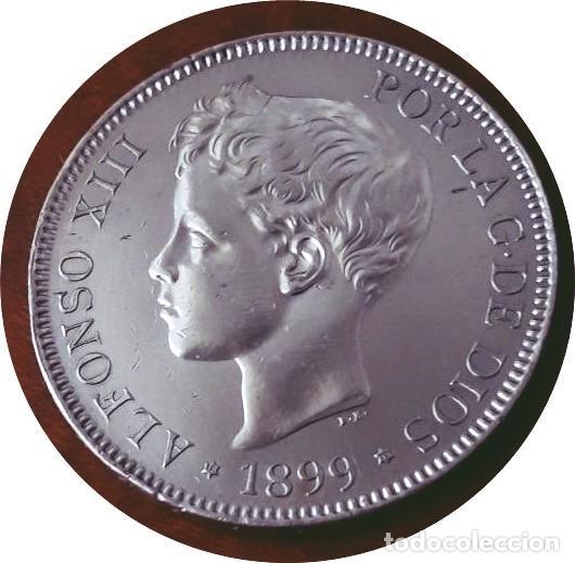 ALFONSO XIII, 5 EXTRAORDINARIAS PESETAS DE 1899, ESTRELLAS *18 *99 - SIN CIRCULAR - PLATA (Numismática - España Modernas y Contemporáneas - De Isabel II (1.834) a Alfonso XIII (1.931))