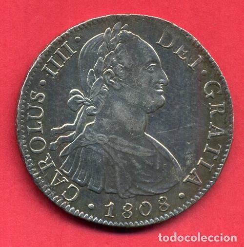 MONEDA PLATA , CARLOS IIII IV , 8 REALES 1808 , MEXICO MEJICO , EBC PATINA , ORIGINAL , M1247 (Numismática - España Modernas y Contemporáneas - De Reyes Católicos (1.474) a Fernando VII (1.833))