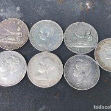 Monedas de España - Lote de 7 monedas duros de plata 5 pesetas alfonso xii xiii gobierno provisional pelon - 164235574