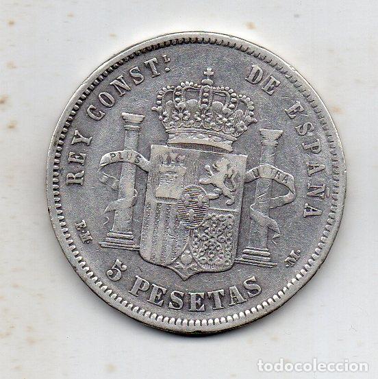 Monedas de España: Alfonso XII. 5 Pesetas. Año 1879. EM - M. Plata. - Foto 2 - 164751306
