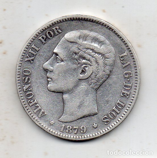 ALFONSO XII. 5 PESETAS. AÑO 1879. EM - M. PLATA. (Numismática - España Modernas y Contemporáneas - De Isabel II (1.834) a Alfonso XIII (1.931))