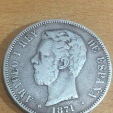 Monedas de España: 5 PESETAS AMADEO 1871 PLATA ESTRELLA 1871 25 GRAMOS. Lote 165536752