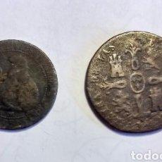 Monedas de España: LOTE 2 MONEDAS DE ISABEL II 1848 JUBIA 8 MARAVEDÍS - ISABEL II 1850 GOBIERNO PROVISIONAL 5 CENTIMOS. Lote 52550991