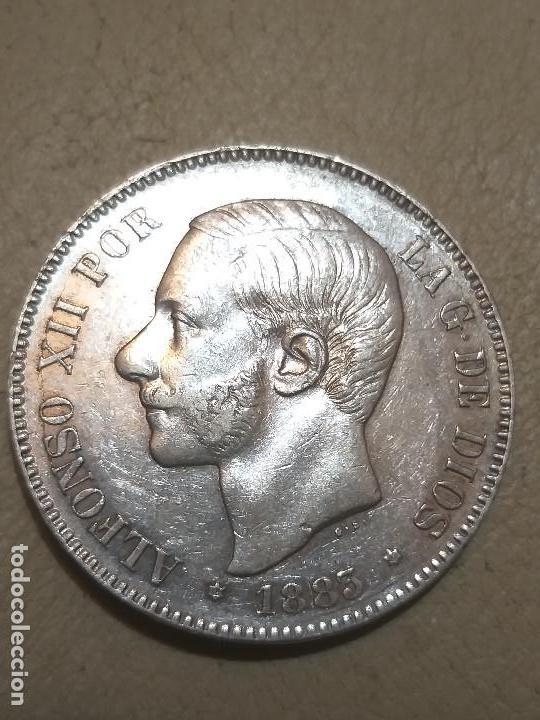 MONEDA DE 5 PESETAS. ALFONSO XII - 1883. M.S.M. ESTRELLA 83 - PLATA BRILLO (Numismática - España Modernas y Contemporáneas - De Isabel II (1.834) a Alfonso XIII (1.931))