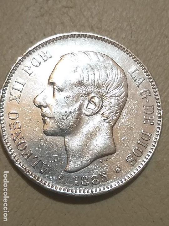ALFONSO XII. 5 PESETAS. MADRID MSM. 1885 *18-87 PLATA (Numismática - España Modernas y Contemporáneas - De Isabel II (1.834) a Alfonso XIII (1.931))