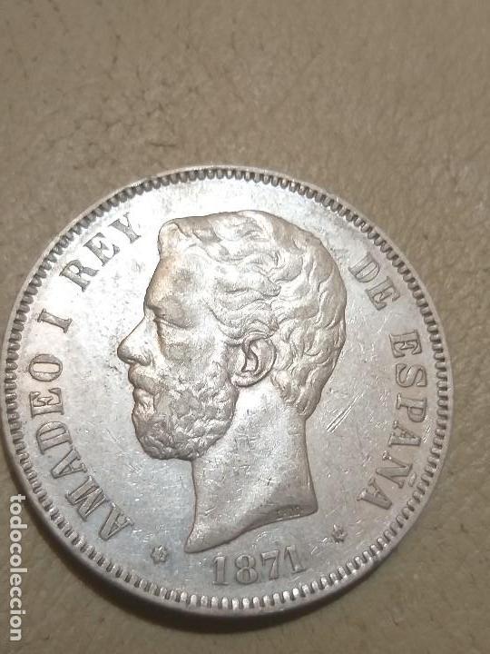 AMADEO I - 5 PESETAS PLATA 1871 * 71 DE MADRID SDM - CONSERVACIÓN EBC- (Numismática - España Modernas y Contemporáneas - De Isabel II (1.834) a Alfonso XIII (1.931))