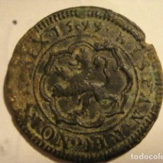 Monedas de España: - FELIPE III - 4 MARAVEDIS - AÑO 1599 SEGOVIA - PIEZA UNICA . NO CATALOGADA - 15+99 CRUZ EN MEDIO. Lote 165909210