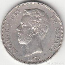 Monedas de España: AMADEO I: 5 PESETAS 1871 ESTRELLAS 18-73 / PLATA - ESCASA. Lote 165930882