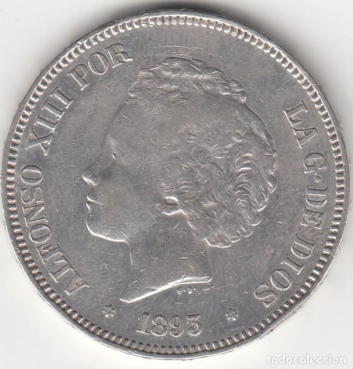 ALFONSO XIII: 5 PESETAS 1893 ESTRELLAS 18-93 PGV / PLATA (Numismática - España Modernas y Contemporáneas - De Isabel II (1.834) a Alfonso XIII (1.931))