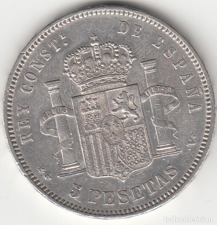 Monedas de España: ALFONSO XIII: 5 PESETAS 1893 ESTRELLAS 18-93 PGV / PLATA - Foto 2 - 165941514