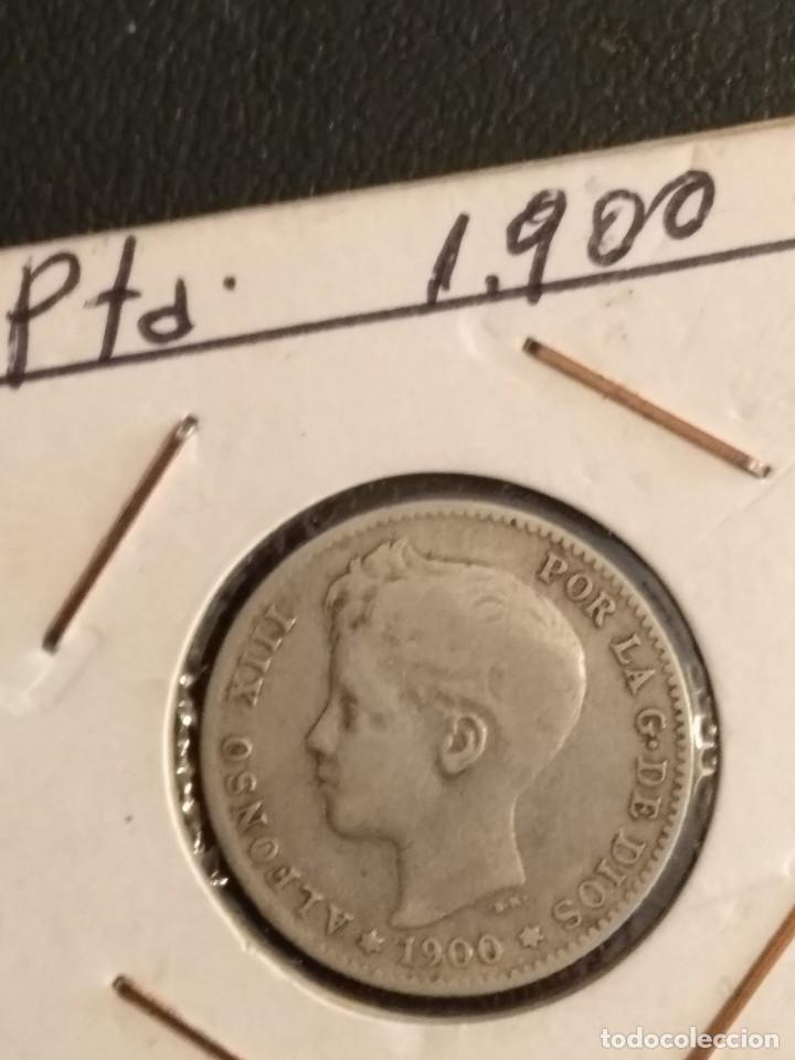 MONEDA DE 1 PESETA DE ALFONSO XIII EN PLATA DE 1900 (Numismática - España Modernas y Contemporáneas - De Isabel II (1.834) a Alfonso XIII (1.931))