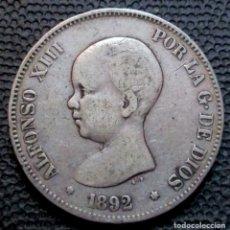 Monedas de España: 5 PESETAS 1892 ALFONSO XIII REF. 85 -PLATA-. Lote 166295710