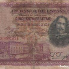 Monedas de España: BILLETE DE 50 PESETAS DE 1928. Lote 166315442