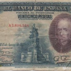 Monedas de España: BILLETE DE 25 PESETAS DE 1928. Lote 166316458