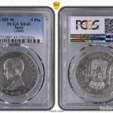 Monedas de España: PCGS 45 XF 5 PESETAS 1888 MSM VARIANTE RARÍSIMA MS / M EBC CERTIFICADA. Lote 167882770