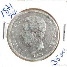 Monedas de España: AMADEO I - 5 PESETAS - 1871 *18 -*74 - D.E.M. PLATA. Lote 169580248
